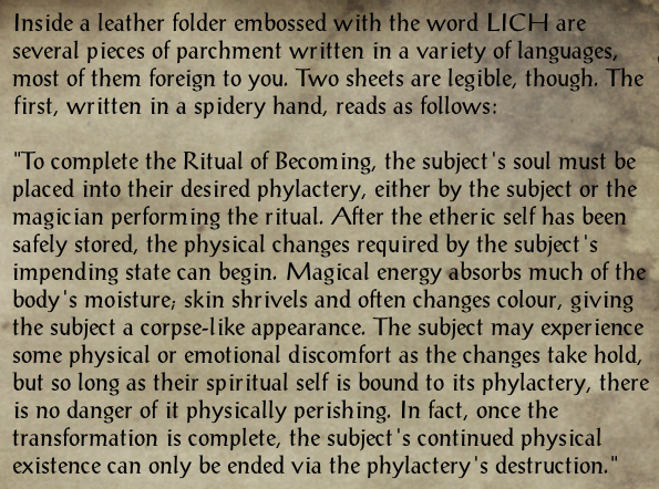 Mortal to Lich Notes