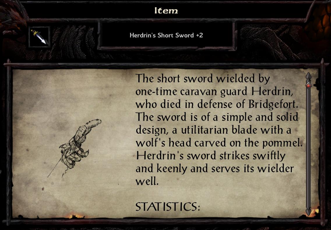 Herdrin's Short Sword +2
