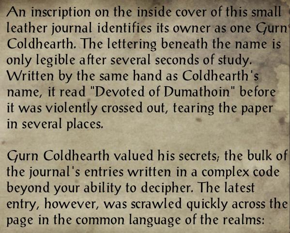 Journal of Gurn Coldhearth 1